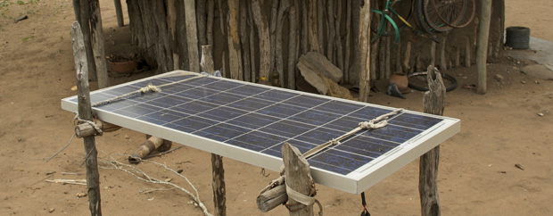 Rural hut with solar panel